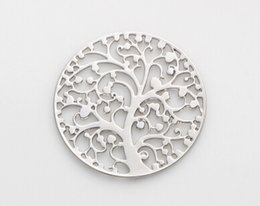 20PCS lot 22MM Silver Family Tree Round Hollow Floating Window Plates Fit For 30mm Magnetic Glass Memory Locket