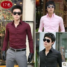 Wholesale 2016 Awesome New Mens Plain Formal Casual Slim Fit Shirt PSS Shirt Colors