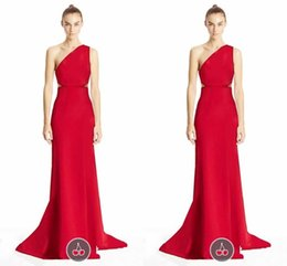 Wholesale Formal Elegant Red Evening Dresses One Shoulder Sheath Runway Fashion Newest Sping Fall Red Carpet Dress Celebrity Gowns Pro Party Dress ZYY