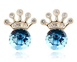 Austrian Crystal Imperial Crown Stud Earrings For Women 18K Gold Plated made with Swarovski Elements Fashion Earrings 8048