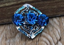 Wholesale Cheap Chunk Bracelets Buttons - DIY Jewelry Accessory 18mm blue crystal metal cheap button snap for noosa chunk jewelry for women bracelet E162L