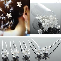 Wholesale Wedding Bridal Rose White Flower Clear Crystal Hair Pins Clips Bridesmaid Women Hair Jewelry JH03008