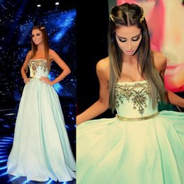 2015 Prom Dresses Strapless Neckline Embroidery Satin Blue Floor-Length Evening Dresses Dhyz 01