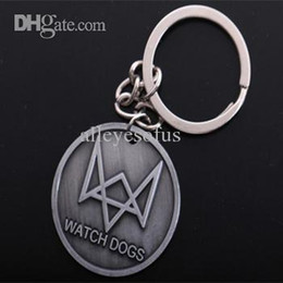 Wholesale-Personality game key chain antique silver watch dogs double face key chains & Keyring for men & women