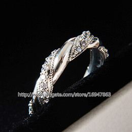 100% S925 Sterling Silver European Pandora Style Jewelry Ribbon of Love Ring with Clear Cz Fashion Charm Ring