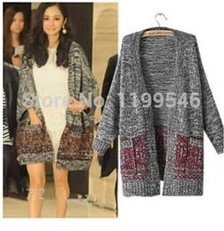 2014 autumn Europe and America Hitz sweater coat loose knit cardigan women hit color