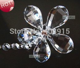Wholesale-Hanging Decorative Crystal Flower Pendant for Crystal Garland, 6pcs lot, Christmas Decor, Chandelier Part, free shipping