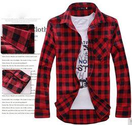 Mens Vintage Plaid Check Long Sleeve Shirt Slim Fit Shirts for Men High Quality Shirt