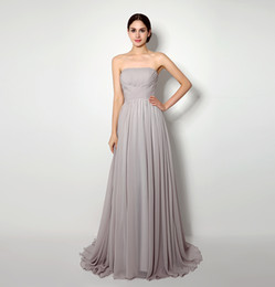 2015 Long Chiffon Brown Bridemaid Dresses A Line Floor Length party Dresses Draped Strapless Elegant Maid of Honor High Quality