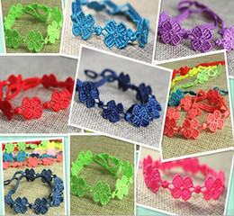 Fashion high quality handmade Italian four leaf clover lace bracelets flower bracelets Christmas gift for women mixed colors