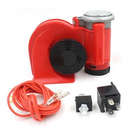 Wholesale FS Hot Twin Dual Tone Compact Air Loud Horn V db Compressor Red Truck Car Bus Van order lt no track