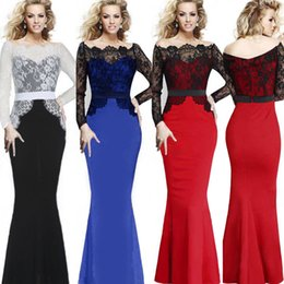 Free shipping Long Sleeve Lace Cotton Blend Mermaid Full Dress Party Evening Cocktail Patchwork dresses