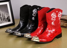 Custom-Order Metal Toe Embroidery Dragon Fashion Half Boots Male Black Boots Genuine Leather Martin Motorcycle Boots Patchwork