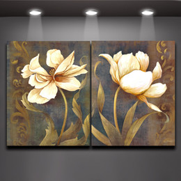 Wholesale The Sacred White Lotus Panels Oil Painting Print on Canvas for Living Room Bedroom Wall Art Decor
