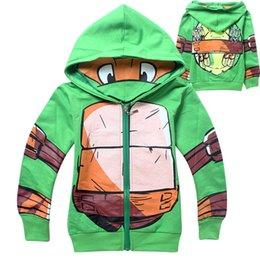 Wholesale 2014 Autumn New style Boys hoody turtles pattern Ninja Turtles Cartoon long sleeve pure cotton Children s zipper hoody Kids Clothing C001