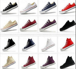 Wholesale DORP SHIPPING NEW size35 New Unisex Low Top High Top Adult Women s Men s Canvas Shoes colors Laced Up Casual Shoes Sneaker shoes