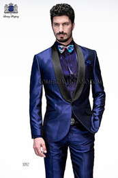 New Stylish Slim Fit Royal Blue Groom Tuxedos Shawl Lapel One Button Men's Wedding Dress Prom holiday Clothing (Jacket+pants+tie)