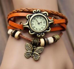 Wholesale Hot Sale Women Retro Leather Butterfly Quartz Wrist Bracelet Watch Colors Optional New