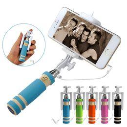 Wholesale-Free ship Mini Selfie Stick Handheld Monopod Extendable Fold Selfie Stick For iPhone Samsung Smartphone Phones Camera selfie