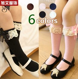 Wholesale 2014 New Arrival Spring Autumn Children Girl s Lace Bow Splicing Socks Knee High Socks Pairs