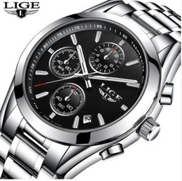 Masculino LIGE Watches Men Luxury Brand Chronograph Sport Military Quartz Watch Man Full steel Business Wrist watch Man Clock