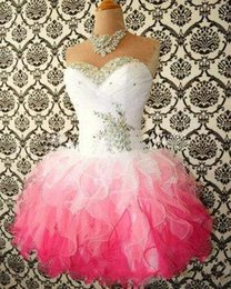Wholesale 2015 Hot Sale Pink And White Cute Homecoming Dresses Ball Gowns Corset tie Back Graduation Dress Short Prom Dress Cocktail Gowns No Sleeves