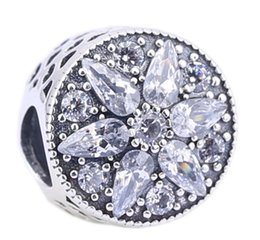 Sterling Silver Charms 925 Ale Snowflake Rhinestone Floral European Charms for Pandora Bracelets DIY Beads Free Shipping