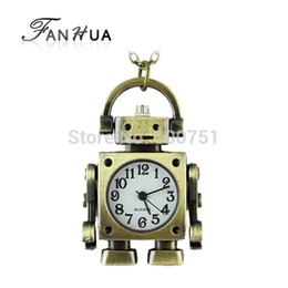 Wholesale Classic designer jewelry lovely fashion Robot pendant brass pocket watch with chain for