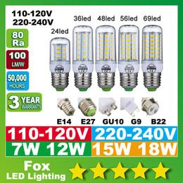 E27 ce smd à vendre-Ampoule Led 360 degrés E27 E14 B22 GU10 ampoules G9 Lumières 7W 12W 15W 18W smd5730 Led AC 110-240V CE UL csa