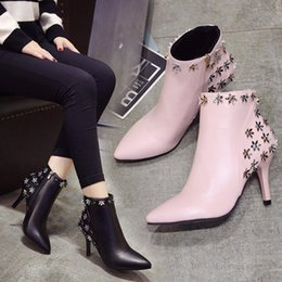 Fashion Women Shoes 2017 winter new pointed boots Princess pink rivets flower shoes fine with high heel Martin boots women boots 35-39