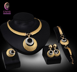 Crystal Wedding Dress Accessories Costume Women Party 18K Gold Plated African Beads Necklace Bangle Earrings Ring Jewelry Sets