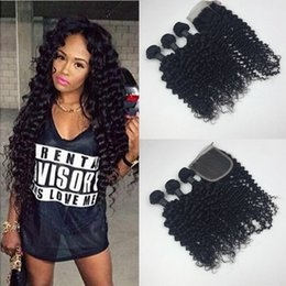 Brazilian Curly Virgin Hair 4 Bundles 50g pc With Lace Closure Free Middle Three Part Brazilian Kinky Curly Virgin Hair Double Weft