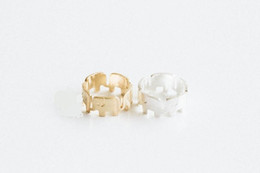 10pcs lot 2015 New Fashon Gold and Silver Wrapped Rround Elephant rings for Women Cute Animal rings Jewelry JZ322