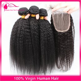 9A Grade Virgin Indian Afro Kinky Straight Hair With Closure 4Pcs Lot Italian Coarse Yaki Lace Top Closure Pieces 4x4 With Hair Bundles