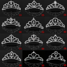 Silver Girls Head Pieces Princess Crown Flower Girl Hair Accessories For Wedding Small Tiaras Cheap Crown Wholesale Hair Combs Crystal