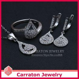 Wholesale-Carraton SSQD9012 Grade AAA CZ Diamond Waterdrop Shaped Real 925 Silver Jewelry Set
