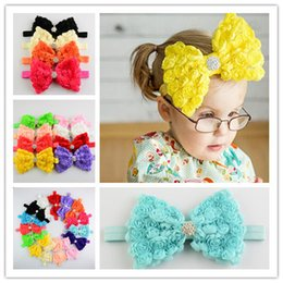 Wholesale Hot chiffon rose hair bow hair bands row flower trade new baby headband headdress