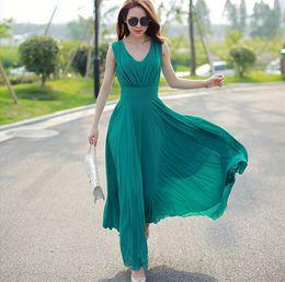 New Fashion White  Green Long Maxi Beach Dress Women Summer Chiffon Dress Tunic