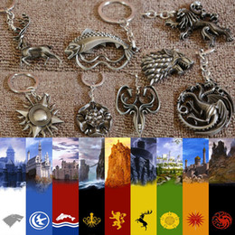 Wholesale Full set Game of Thrones badge keychain keyring Stark Lannister Targaryen wolf dragon A Song of Ice and Fire Eight big family totem pendent