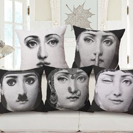 25 styles Beauty Girl Face Custom Cushion Cover Fornasetti Pillow Cover 45X45cm Creative Art Design Couch Decoration Sofa Pillow Case Gift