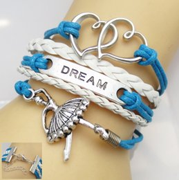 Wholesale Ballet Dance girl dream Infinity bracelets leather bracelets with claw clasp hy1099
