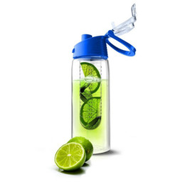 Wholesale 100pcs lot 2015 New Tritan Plastic Sports Water Bottle with fruit infuser BPA free juice cup,juice bottle fruit bottle