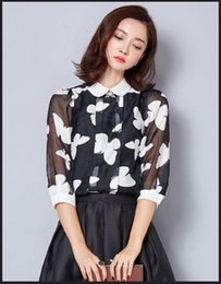 Wholesale The New Fair Maiden Temperament Cultivate One s Morality Spring Snow Spins Unlined Upper Garment Printing Chiffon Blouse