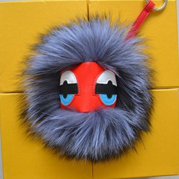 Wholesale Black leather wallet Purse Pom Pom real Raccoon fur monster doll keychain charm golf cart bag pendant strap plush keyring