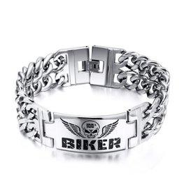 Wholesale 316l stainless steel BIKER Bracelets Hot selling models skull pattern mens bracelet