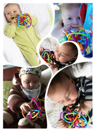 Wholesale Manhattan toy winkel baby Rattle Newborn Infant Silicone Sensory Teeth Teether Magic Ball Activity toy baby teether ball safety