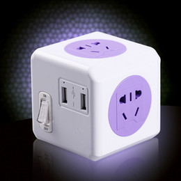 Wholesale Allocacoc New Design Network Multi Wall Sockets Switches Euro Powercube Power Strip USB Port with m Cable