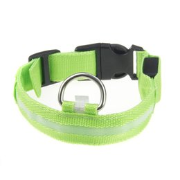 Wholesale-New Safety Dog Pet Nylon LED Collar Light-up Flashing Glow LED Collar S M L XL Dog Collar