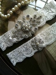 Wholesale Sexy Bridal Garters White Ivory Cheap with Beads Crystal Lace Wedding Leg Garters Bridal Accessories C257