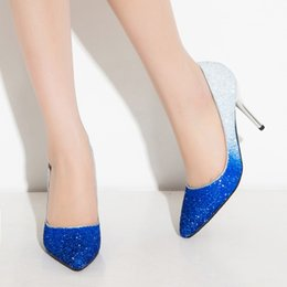 Wholesale 2015 Shiny Korean gold high heels pointed fine with Korean princess shoes wedding shoes tide sequins shoes